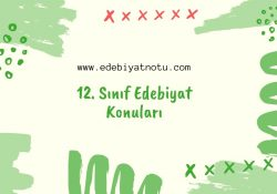 12. Sınıf Edebiyat Konuları