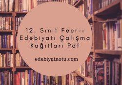12. Sınıf Fecr-i Edebiyatı Çalışma Kağıtları Pdf