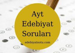 Ayt Edebiyat Soruları Çöz